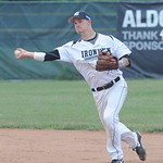 Ironmen Nate Langhals makes a throw to first base May 28.  steve Manheim