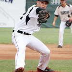 Lorain County Ironmen Justin Fritts pitches against the Springfield Sliders in the first inning. ANNA NORRIS/CHRONICLE
