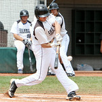 Lorain County Ironmen lead-off hitter Anthony Bova hits a triple on his first at bat. ANNA NORRIS/CHRONICLE