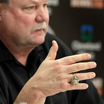 Wearing his ring from winning Super Bowl XXXI as head coach of the Green Bay Packers, Cleveland Browns president Mike Holmgren talks to the media hours after the team fired head coach Eric M …