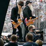 ZZ Top members Billy Gibbons, left, and Dusty Hill perform before the start of the NASCAR Sprint Cup Series auto race at Texas Motor Speedway on Sunday, Nov. 8, 2009, in Fort Worth, Texas. ( …