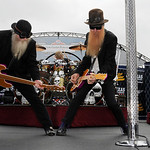 ZZ Top members Dusty Hill, left, Frank Beard on drums, and Billy Gibbons perform before the NASCAR Sprint Cup Series auto race at Texas Motor Speedway, on Sunday, Nov. 8, 2009, in Fort Worth …