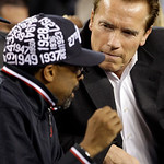 California Gov. Arnold Schwarzenegger, right, talks to filmmaker Spike Lee during halftime of the NBA All-Star basketball game Sunday, Feb. 14, 2010, at Cowboys Stadium in Arlington, Texas.  …