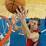 West All-Star Dirk Nowitzki of the Dallas Mavericks shoots in the first half of the NBA All-Star basketball game Sunday, Feb. 14, 2010, at Cowboys Stadium in Arlington, Texas (AP Photo/Jed J …