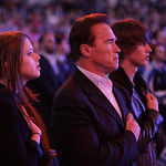 California Gov. Arnold Schwarzenegger is seen with daughter Christina and son Patrick during the national anthem before the NBA All-Star basketball game Sunday, Feb. 14, 2010, at Cowboys Sta …