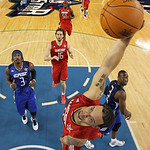 West All-Star Deron Williams of the Utah Jazz goes in for a dunk in the first half of the NBA All-Star basketball game Sunday, Feb. 14, 2010, at Cowboys Stadium in Arlington, Texas. (AP Phot …