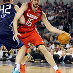 West All-Star Pau Gasol (16) of the Los Angeles Lakers dribbles against East All-Star David Lee of the New York Knicks during the second quarter of the NBA All-Star basketball game Sunday, F …