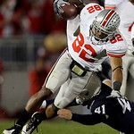 Ohio State's Ray Small (82) is tackled by Penn State punter Jeremy Boone (41) during the second half of an NCAA college football game in State College, Pa., Saturday, Nov. 7, 2009. Ohio Stat …