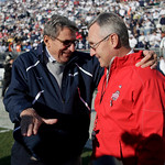 Penn State head coach Joe Paterno, left, chats with Ohio State head coach Jim Tressel, right, before the start of their NCAA college football game in State College, Pa., Saturday, Nov. 7, 20 …