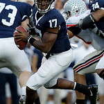 Penn State quarterback Daryll Clark (17) scrambles during the first half of an NCAA college football game against Ohio State in State College, Pa., Saturday, Nov. 7, 2009. Ohio State won 24- …