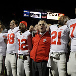 Members of the Ohio State football team join head coach Jim Tressel as they sing their school's alma mater after beating Penn State in an NCAA college football game in State College, Pa., Sa …