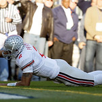 Ohio State quarterback Terrelle Pryor dives into the end zone for a touchdown against Penn State during the first half of an NCAA college football game in State College, Pa., Saturday, Nov.  …