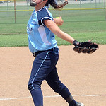 Erin Laboe pitches for T3 Lady Rays from Avon Lake against Thunder Elite.  STEVE MANHEIM/CHRONICLE