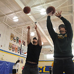 Ryan Vargo, right, and Chad Anderson will be involved in an all-star game, a 3-point contest, a dunk contest, etc., featuring Clearview athletes and coaches this Friday, here at the Clearv …