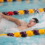 Ben Brooks does the backstroke in the 200-yard IM during the Sectional Swimming Championship at Lakewood. RAY RIEDEL/CHRONICLE