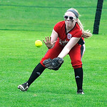 Elyria's left fielder Sara Liszeski fields a ground ball. KRISTIN BAUER | CHRONICLE