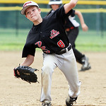 Vermilion DRD Wildcats pitcher Caden Cooper pitches against the Buckeye MTD in the Hot Stove Class G regional championship game yesterday at Reservoir Park in Grafton. (CT photo by Anna Norr …