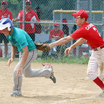 South Amherst Firelands pitcher Jacob Campball tags out Ravenna's  on the attempt to steal home in the second inning of the Hot Stove class FF regional championship game yesterday at Reservo …