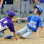 Midview Devin Bors is tagged out at plate by Keystone Bryan Waite in first inn. July 7.  Steve Manheim