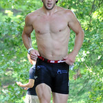 Adam Kuncel of Amherst finishes run in Huntington Triathlon on June 23. Steve Manheim