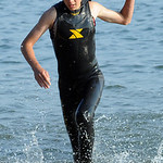 Josh Park of Amherst in the swimming portion of Huntington Triathlon on June 23. Steve Manheim