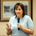 Author Kelly Boyer Sagert talks about her book on Shoeless Joe Jackson at Elyria Wesleyan Village on July 11.  Steve Manheim