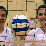 LCCC volleyball players #10 Katarina Kovach of North Ridgeville, left, and Hannah Pinkie of North Olmsted.