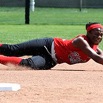 Elyria Sybil Roseboro cant&#039; hold on to a ground ball in second inning Aug. 6.  Steve Manheim