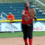 Elyria Sybil Roseboro makes a throw to first in third inning Aug. 6.  Steve Manheim