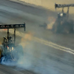 Antron Brown and Shawn Langdon race in the Top Fuel dragster finals on July 6.  Brown took first and Langdon took second. KRISTIN BAUER | CHRONICLE