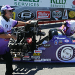 Chris Demke, of the top alcohol dragster team, lines up for qualifying at Norwalk on July 4. STEVE MANHEIM/CHRONICLE