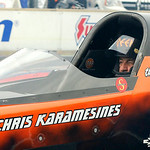 Chris Karamesines, 84, competes in the top fuel dragster heat on July 5. KRISTIN BAUER | CHRONICLE