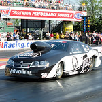 Driver Vincent Nobile makes a winning run in his funny car at Norwalk Raceway. 20-year-old Nobile walked away with $75,000 in winnings for the weekend. CT photo by Brian Woods.