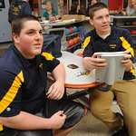 Joey Peterson, left, and Ryan Kordish watch North Ridgeville bowling practice on Nov. 14. Steve Manheim
