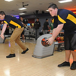 Ryan Kordish, left, and Joey Peterson of North Ridgeville bowling on Nov. 14.  Steve Manheim