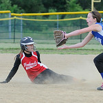 South Amherst's Krissy Dewitt slides safely into second as Grafton's Lauren Mathes attempts to tag her out. KRISTIN BAUER | CHRONICLE