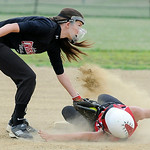 Crushers' third baseman Kylie Bishop tags out Firelands' Tori Hritsko. KRISTIN BAUER | CHRONICLE