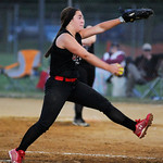 Crushers' Selena Shawver pitches against Lorain on Wednesday.  KRISTIN BAUER | CHRONICLE
