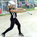 Columbia Red Wagon's #3 Ashley Krupinski gets a hit. (CT photo by Linda Murphy.)