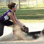 Columbia's #19 Maya Trujillo slides safely into third before Keystone's #2 Jodi Gaines can place the tag. (CT photo by Linda Murphy.)Z