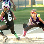 Columbia's #6 Ally Ross makes it safely back to third as Keystone's #4 Abbey Norris waits for the ball. (CT photo by Linda Murphy.)Z