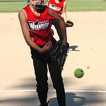 Amherst Wranglers' starting pitcher #8 Madison Wormsley against South Amherst Synergy. (CT photo by Linda Murphy.)