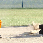 Wellington Lightning's #5 Annika Bredel slides safely into second as Buckeye Cooper's #22 Jess Girard waits for the ball. (CT photo by Linda Murphy.)