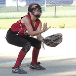 Amherst Wranglers' #7 Mackenzie Cornwell waits for the ball at second. (CT photo by Linda Murphy.)