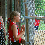 Eliza Stojikov, of the Amherst Wranglers, watched her team's tournament match against the Crestwood Chargers.