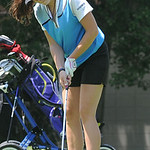 Devon Matson of Brunswick lines up her putt. STEVE MANHEIM/CHRONICLE
