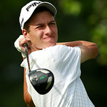 Joey Krecic watches his tee shot on the second hole of the north course during his first day of play at the Ohio Open. Photo by Aaron Josefczyk