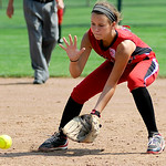 Elyria's Emily Hyer fields a ground ball. KRISTIN BAUER | CHRONICLE