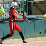 Emily Hyer hits an RBI double in the second inning. STEVE MANHEIM/CHRONICLE