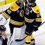 Boston Bruins center Patrice Bergeron (37) congratulates Boston Bruins goalie Tuukka Rask (40), of Finland, on his shutout after the Bruins beat the Chicago Blackhawks 2-0 in Game 3 of the N …